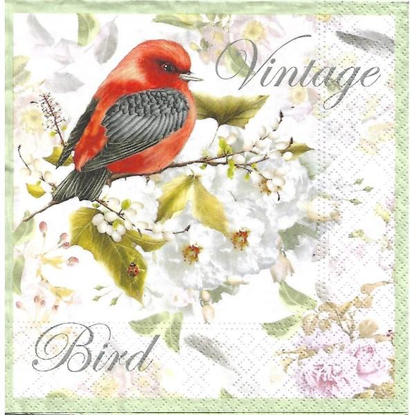 4 Serviettes en papier Oiseau Vintage Format Lunch Decoupage Decopatch 75241 Nouveau - Photo n°1