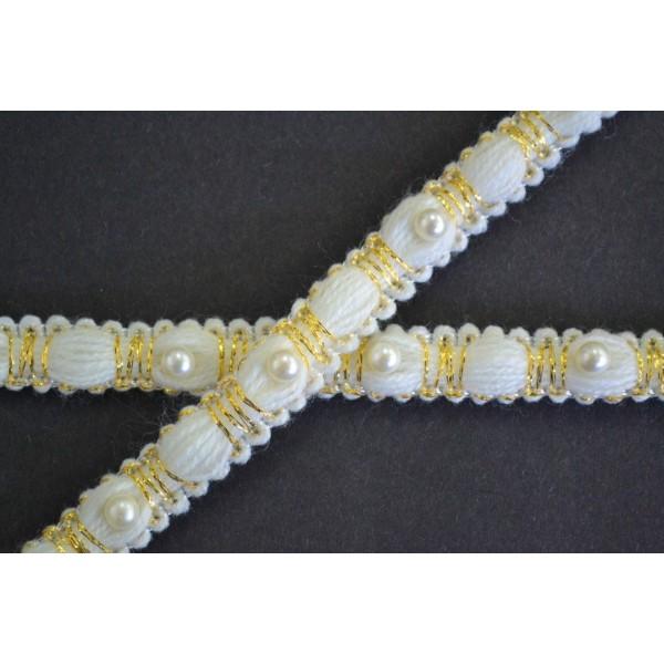 Galon écru intervalle de perle et fil doré 13mm - Photo n°1