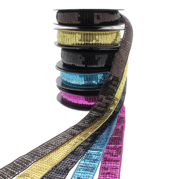 Galon paillettes - 24 mm - Plusieurs coloris - Au mètre (sur mesure) - Photo n°1