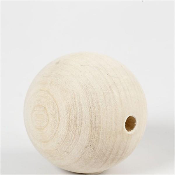Perles En Bois - Diamètre : 6 cm - 3 pcs - Photo n°2
