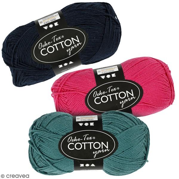 Pelote de fil de coton - Oeko-Tex Cotton - Différents coloris - 50 g - Photo n°1