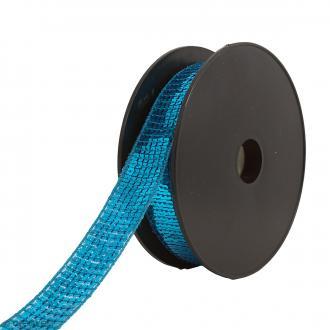 Galon paillettes - 24 mm - Bleu turquoise - Au mètre (sur mesure)