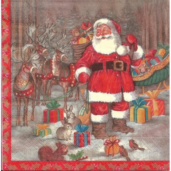 4 Serviettes en papier Père Noël Rennes Cadeaux Format Lunch Decoupage Decopatch DC-183553 Duni - Photo n°2