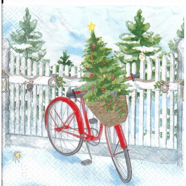 4 Serviettes en papier Vélo de Noël Sapin Format Lunch Decoupage Decopatch 611925 Home Fashion - Photo n°2