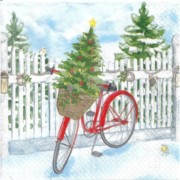 4 Serviettes en papier Vélo de Noël Sapin Format Lunch Decoupage Decopatch 611925 Home Fashion - Photo n°1