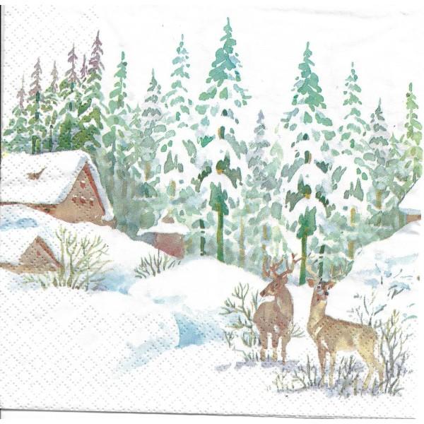 4 Serviettes en papier Cerf dans la Forêt Format Lunch Decoupage Decopatch 611923 Home Fashion - Photo n°2