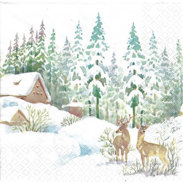 4 Serviettes en papier Cerf dans la Forêt Format Lunch Decoupage Decopatch 611923 Home Fashion - Photo n°1