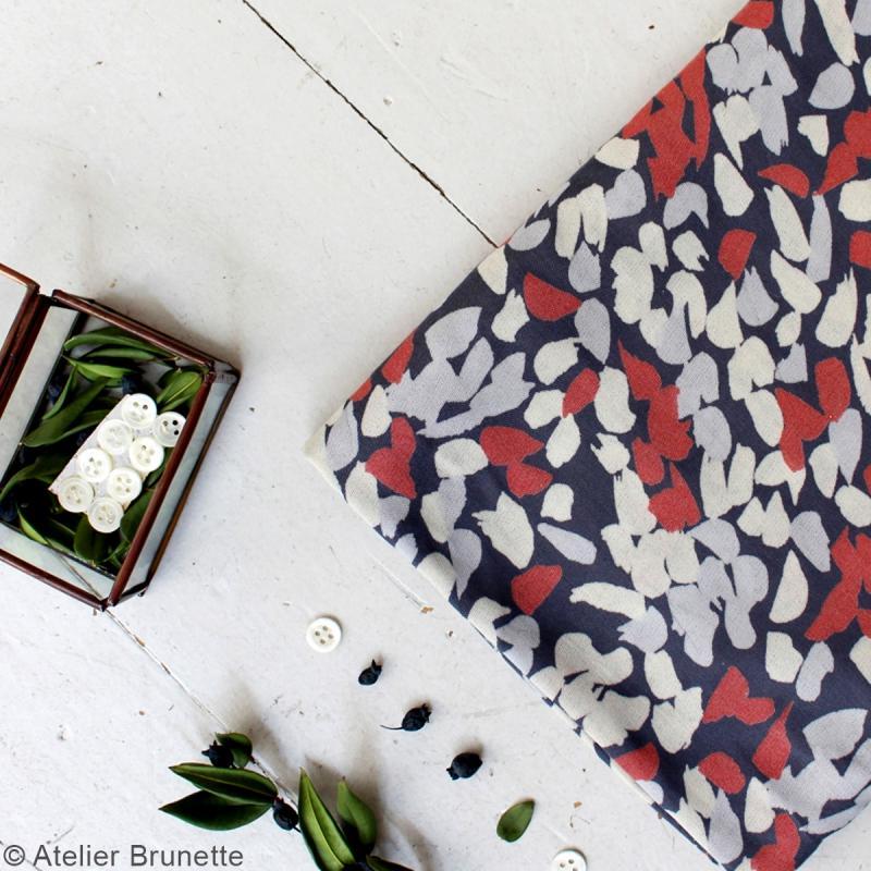 tissu atelier brunette impression blossom coral par 10 cm sur mesure tissu au m tre. Black Bedroom Furniture Sets. Home Design Ideas
