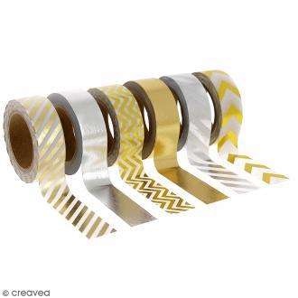 Assortiment Masking tape Foil - Doré et argenté - 1,5 cm x 10 m - 6 pcs