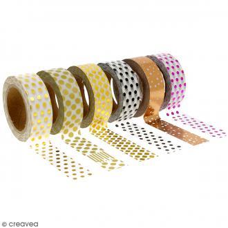 Assortiment Masking tape Foil Pois - 1,5 cm x 10 m - 6 pcs