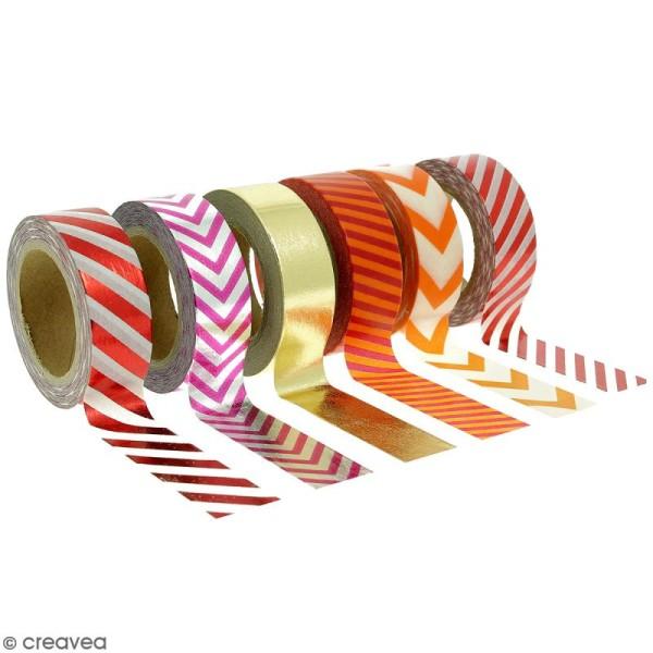 Assortiment Masking tape Foil Lignes et chevrons - 1,5 cm x 10 m - 6 pcs - Photo n°1