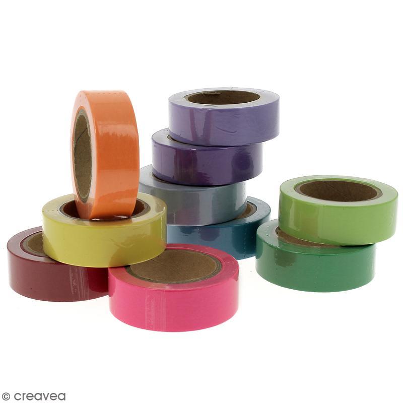 Assortiment Masking tape Couleurs unies - 1,5 cm x 10 m - 10 pcs - Photo n°3
