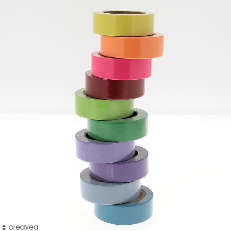 Assortiment Masking tape Couleurs unies - 1,5 cm x 10 m - 10 pcs - Photo n°4