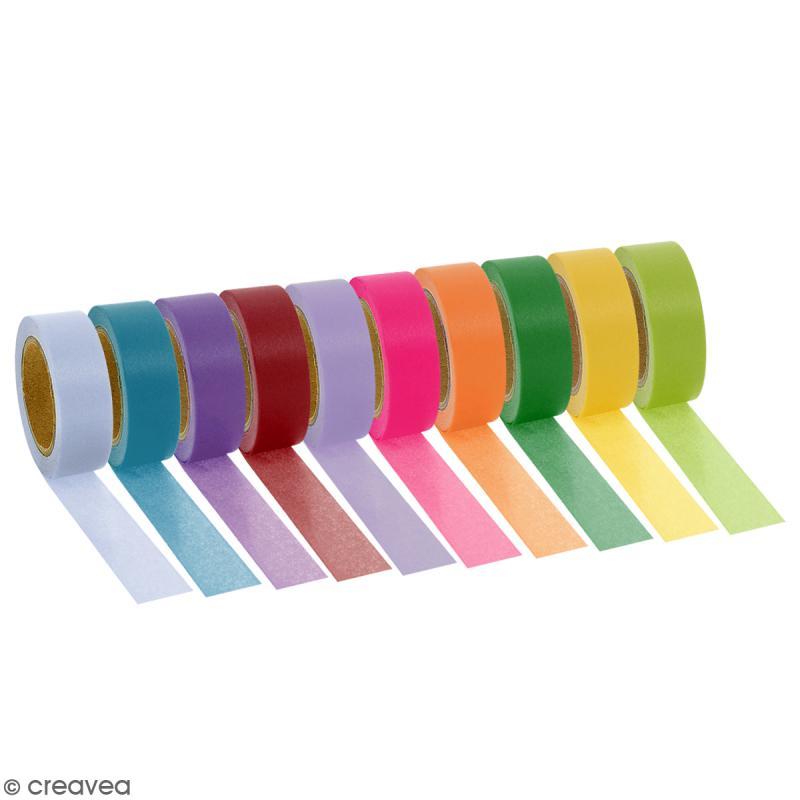 Assortiment Masking tape Couleurs unies - 1,5 cm x 10 m - 10 pcs - Photo n°1