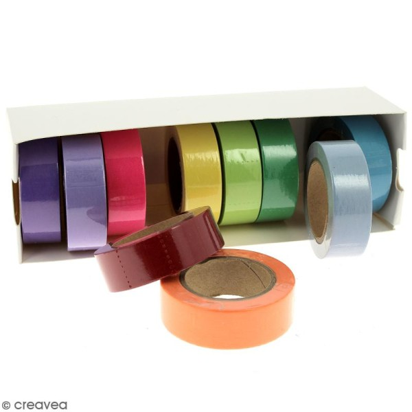 Assortiment Masking tape Couleurs unies - 1,5 cm x 10 m - 10 pcs - Photo n°2