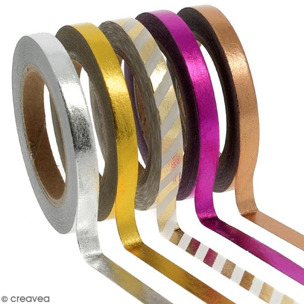 Assortiment Masking tape Foil Couleurs métallisées - 0,5 cm x 10 m - 5 pcs - Photo n°1