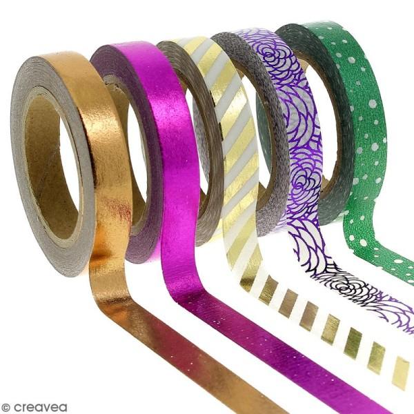 Assortiment Masking tape Foil Couleurs métallisées et motifs - 0,8 cm x 10 m - 5 pcs - Photo n°1