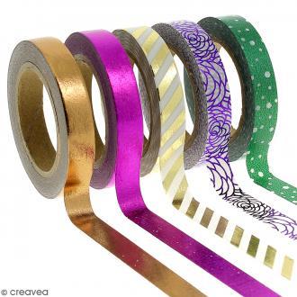 Assortiment Masking tape Foil Couleurs métallisées et motifs - 0,8 cm x 10 m - 5 pcs