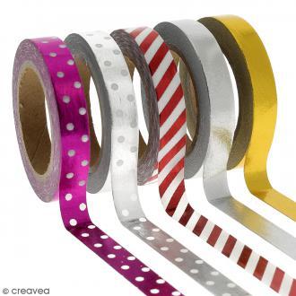 Assortiment Masking tape Foil Couleurs métalliques - 0,8 cm x 10 m - 5 pcs