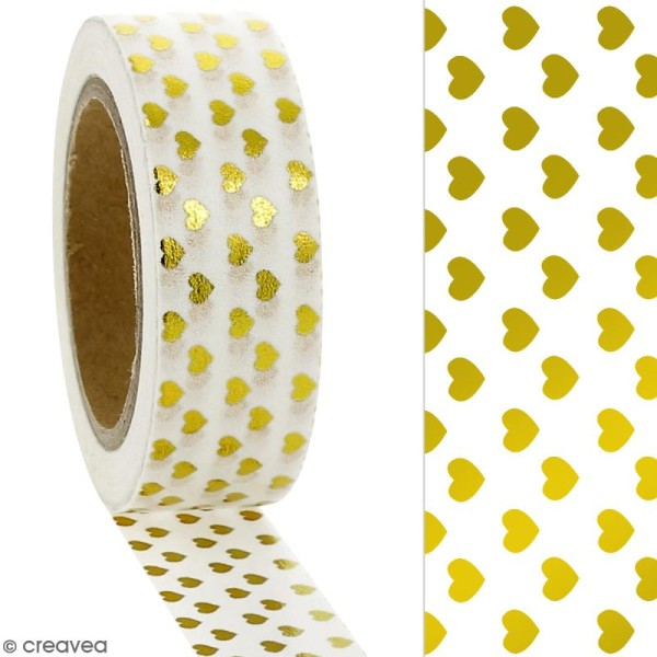 Masking tape Foil Petits coeurs dorés sur fond blanc - 1,5 cm x 10 m - Photo n°2