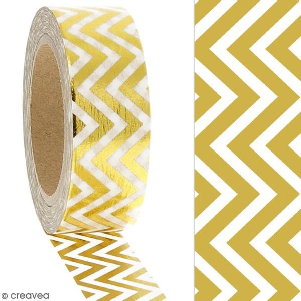 Masking tape Foil Chevrons dorés - 1,5 cm x 10 m - Photo n°2