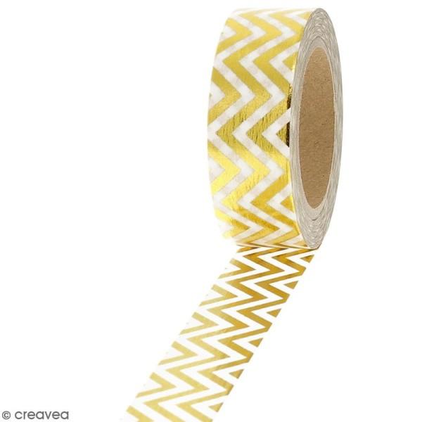 Masking tape Foil Chevrons dorés - 1,5 cm x 10 m - Photo n°1
