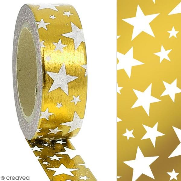 Masking tape Foil Etoiles blanches sur fond doré - 1,5 cm x 10 m - Photo n°2