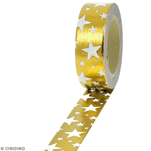 Masking tape Foil Etoiles blanches sur fond doré - 1,5 cm x 10 m - Photo n°1