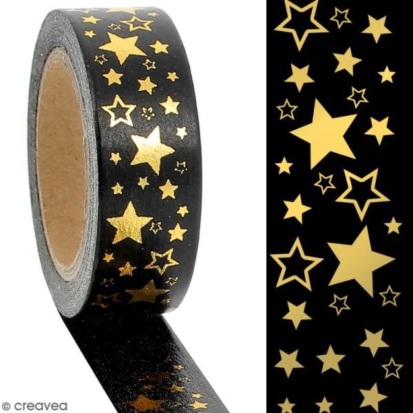 Masking tape Foil Etoiles dorées sur fond noir - 1,5 cm x 10 m - Photo n°2