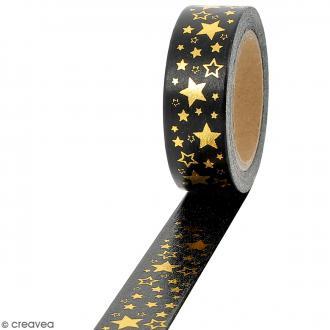 Masking tape Foil Etoiles dorées sur fond noir - 1,5 cm x 10 m
