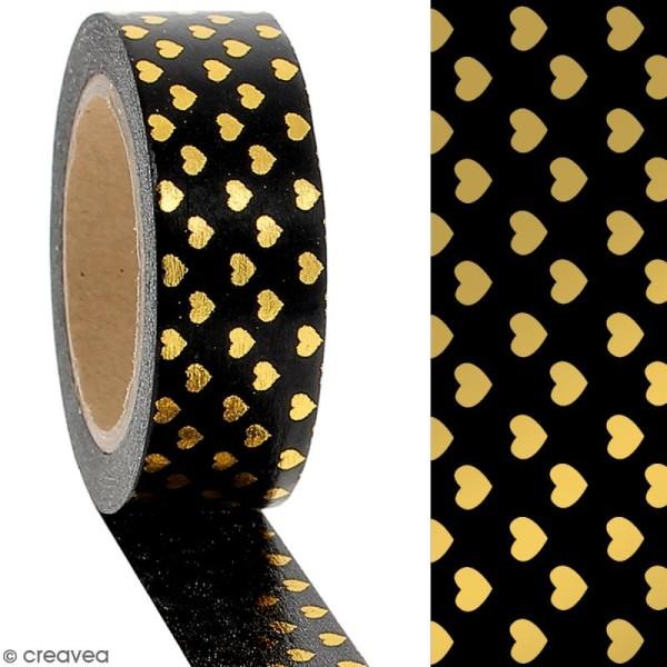 Masking tape Foil Petits coeurs dorés sur fond noir - 1,5 cm x 10 m - Photo n°2