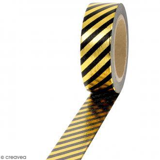 Masking tape Foil Lignes dorées et noires - 1,5 cm x 10 m