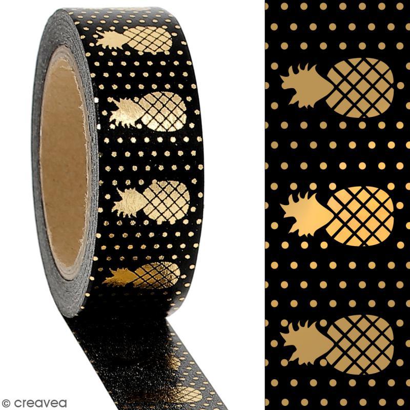 Masking tape Foil Ananas doré sur fond noir - 1,5 cm x 10 m - Photo n°2