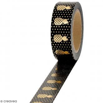 Masking tape Foil Ananas doré sur fond noir - 1,5 cm x 10 m