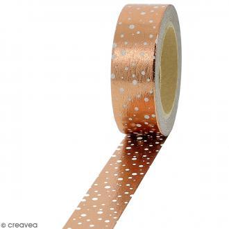 Masking tape Foil Pois blancs sur fond cuivré - 1,5 cm x 10 m