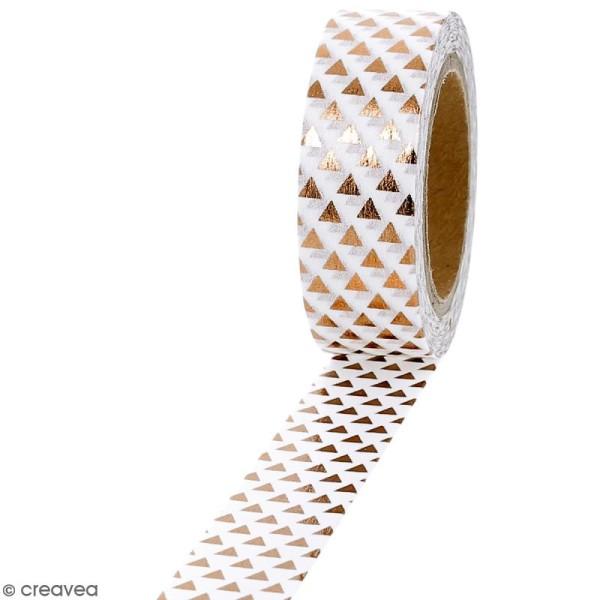 Masking tape Foil Triangles cuivrés sur fond blanc - 1,5 cm x 10 m - Photo n°1