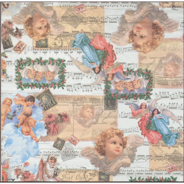 4 Serviettes en papier Ange Musique Rose Vintage Format Lunch Decoupage Decopatch 2572-9292-51 Stewo - Photo n°2