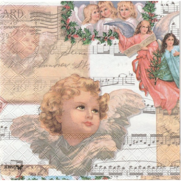 4 Serviettes en papier Ange Musique Rose Vintage Format Lunch Decoupage Decopatch 2572-9292-51 Stewo - Photo n°1
