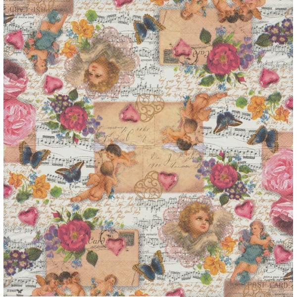 4 Serviettes en papier Ange Musique Rose Vintage Format Lunch Decoupage Decopatch 2572-9318-25 Stewo - Photo n°2