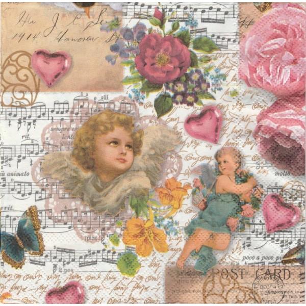 4 Serviettes en papier Ange Musique Rose Vintage Format Lunch Decoupage Decopatch 2572-9318-25 Stewo - Photo n°1