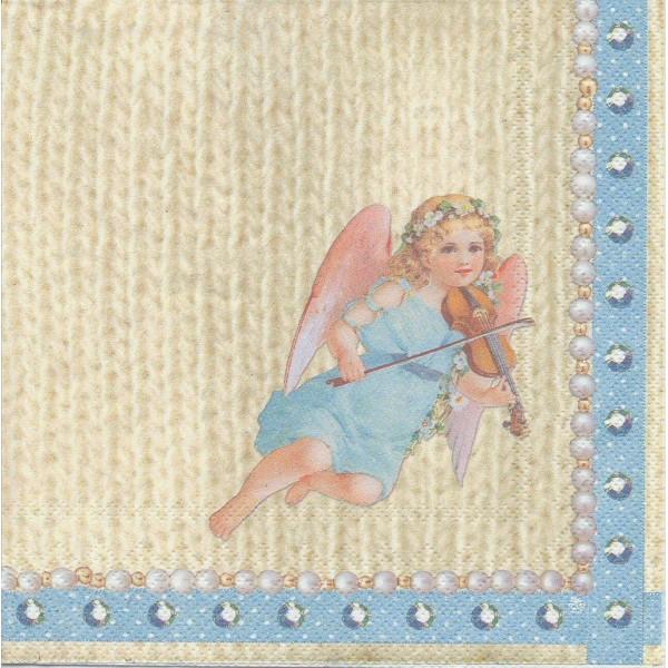4 Serviettes en papier Ange sur Tricot Vilon Format Lunch Decoupage Decopatch L-488700 IHR - Photo n°1