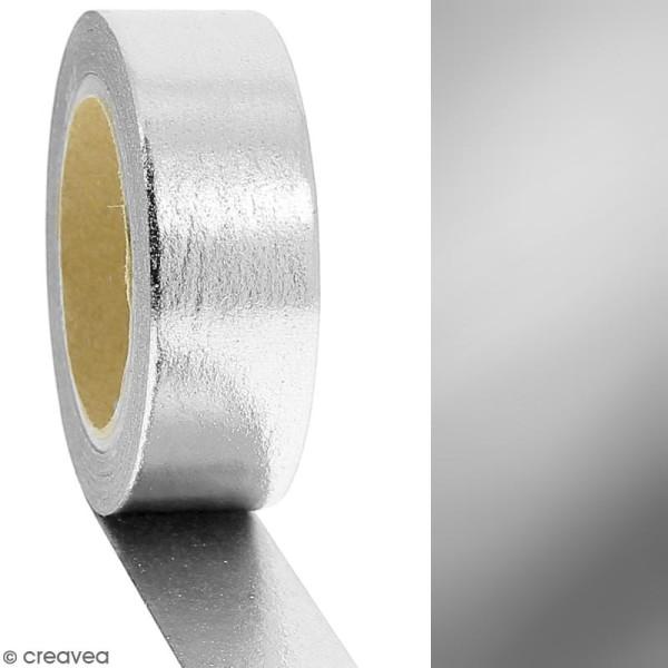 Masking tape Foil Gris argenté uni - 1,5 cm x 10 m - Photo n°2