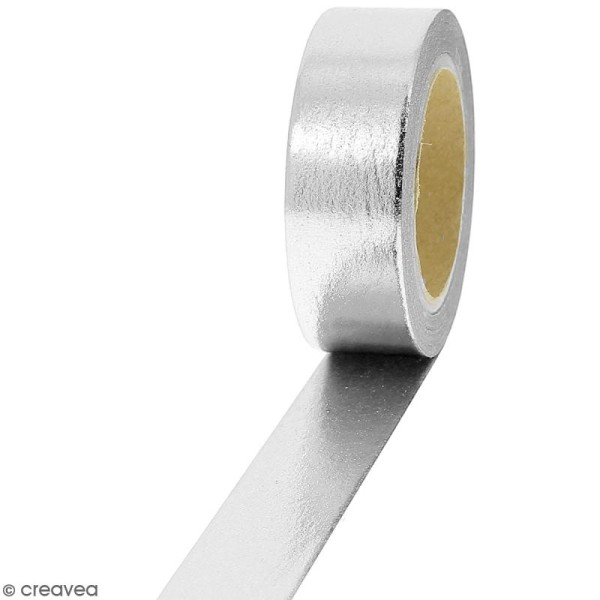 Masking tape Foil Gris argenté uni - 1,5 cm x 10 m - Photo n°1