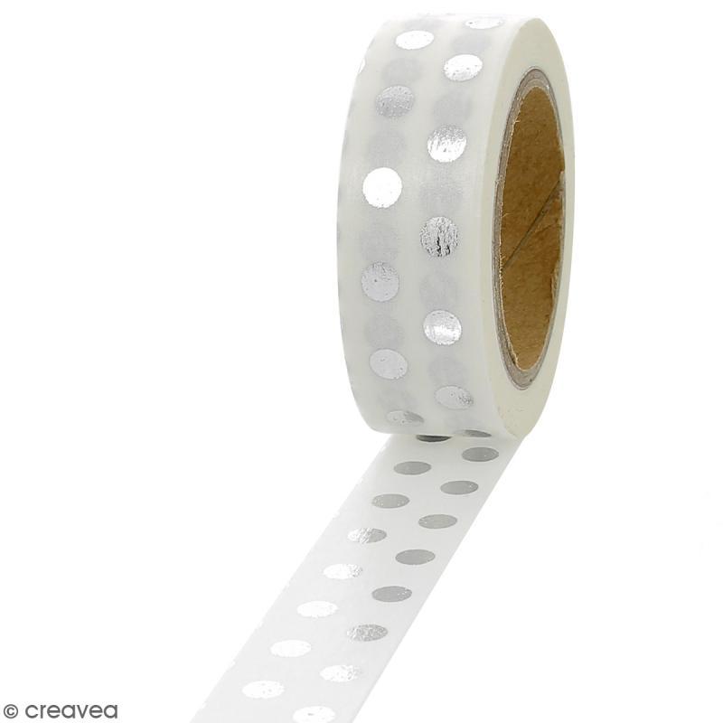 Masking tape Foil Pois gris argentés - 1,5 cm x 10 m - Photo n°1