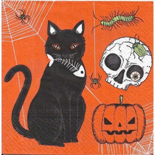 4 Serviettes en papier Halloween Chat chauve-Souris Format Lunch Decoupage Decopatch SDL-120100 Paw - Photo n°1