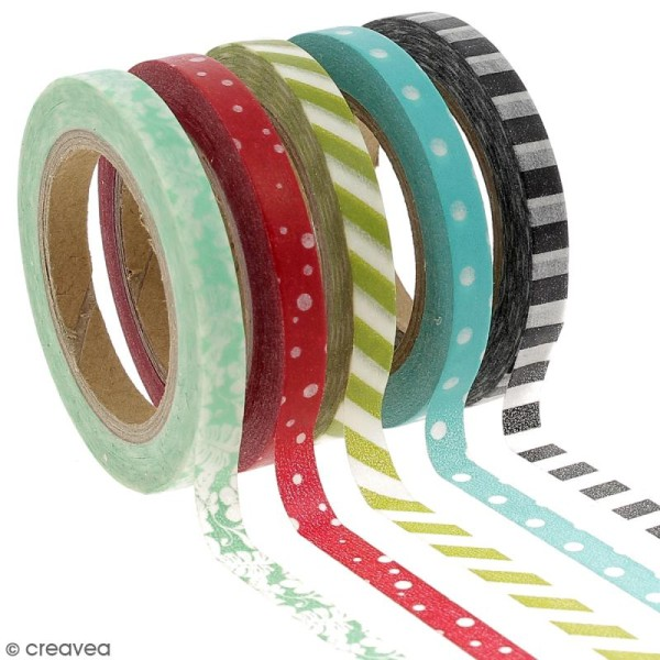 Assortiment Masking tape pois et lignes - 0,5 cm x 10 m - 5 pcs - Photo n°1