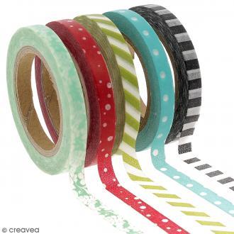Assortiment Masking tape pois et lignes - 0,5 cm x 10 m - 5 pcs
