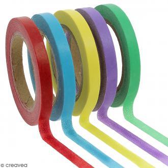 Assortiment Masking tape Couleurs unies - 0,5 cm x 10 m - 5 pcs