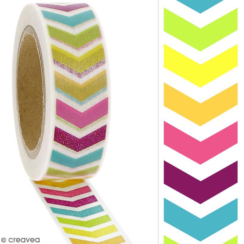 Masking tape Chevrons multicolores - 1,5 cm x 10 m - Photo n°2
