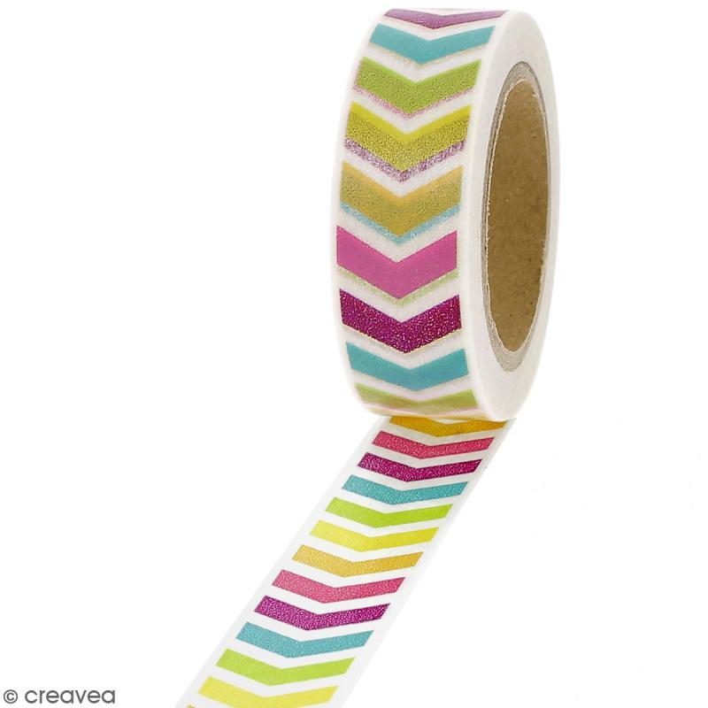 Masking tape Chevrons multicolores - 1,5 cm x 10 m - Photo n°1